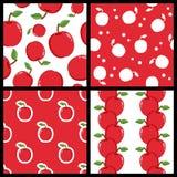 Modèles sans couture rouges d'Apple réglés Photographie stock libre de droits
