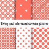 Modèles sans couture vivants de vecteur de couleur de corail Ensemble de milieux abstraits Couleur de corail vivante 2019 illustration de vecteur