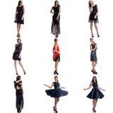 Modèles sexy démontrant le collage de robes de soirée Photographie stock libre de droits