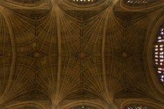 Modèles sur le plafond de Chapel du Roi - Cambridge, R-U Photographie stock