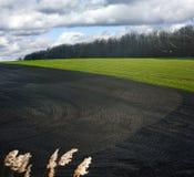 Modèles sur le sol noir arable au gisement de ressort images stock