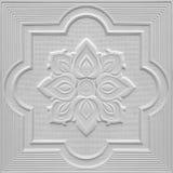 Modèles sur les feuilles de gypse de plafond de fleurs blanches Photographie stock libre de droits