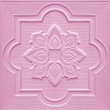 Modèles sur les feuilles de gypse de plafond de fleurs roses Images stock