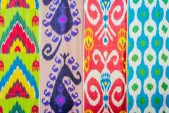 Modèles traditionnels de tissu d'Ouzbékistan Images libres de droits