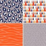 Modèles tribals de vecteur sans couture dans le gris orange et la marine Photos stock