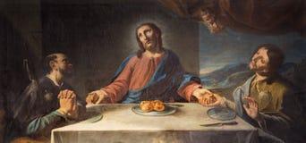 MODÈNE, ITALIE - 14 AVRIL 2018 : La peinture du dîner avec deux disciples d'Emmaus dans l'église Chiesa di San Pietro image libre de droits