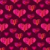 Mod情人节心脏与印刷术的背景样式 向量例证
