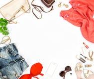 Mod akcesoria, kosmetyki, torba, kują Ogólnospołecznych środki Zdjęcie Royalty Free