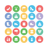 Mod Barwione Wektorowe ikony 3 Obraz Royalty Free