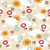 MOD-Blumen, Sonnen und Wolken-nahtloses Muster Lizenzfreies Stockfoto