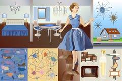 MOD de los mediados de siglo - edad atómica - equipo del vector - carácter y elementos de los muebles de los objetos de los fondo stock de ilustración