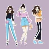 Mod dziewczyn majchery ustawiający również zwrócić corel ilustracji wektora ilustracja wektor