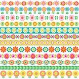 Mod flower border patterns Stock Images