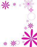 Mod flowers hot pink. Floral scene in hot pink Stock Illustration