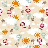 Mod Flowers, Suns, and Clouds Seamless Pattern Royalty Free Stock Photo
