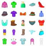 Mod.-geplaatste pictogrammen, beeldverhaalstijl Stock Fotografie