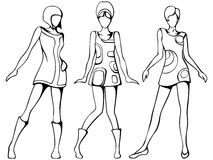 Mod girls sketch stock illustration