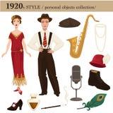 1920 mod kobiety i mężczyzna stylowi osobiści przedmioty royalty ilustracja