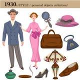 1930 mod kobiety i mężczyzna stylowi osobiści przedmioty ilustracja wektor