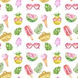 Mod?le pour aquarelle d'?t? avec les fruits frais, la cr?me glac?e, les lunettes de soleil, les posicles et les feuilles tropical photo libre de droits