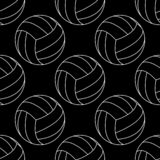 Mod?le sans couture avec le blanc d'illustration de vecteur de volleyball sur le fond noir illustration stock