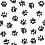 Mod?le sans couture avec des pattes de chien de griffonnage Copie animale de couleur noire Fond de vecteur illustration stock