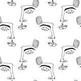 Mod?le sans couture avec des visages Silhouette abstraite d'ensemble de visage humain Affiche moderne d'avant-garde illustration stock