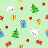 Mod?le sans couture avec l'arbre de hristmas, les cadeaux et la souris mignonne sur le fond vert - illustration de vecteur, ENV illustration libre de droits