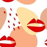 Mod?le sans couture avec les l?vres graphiques et les formes abstraites illustration stock