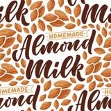 Mod?le sans couture avec le lettrage de lait d'amande pour la conception de banni?re, de fond, de logo et d'emballage Nourriture  illustration stock