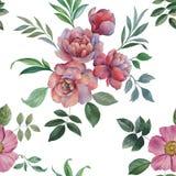 Mod?le sans couture d'aquarelle Illustration des fleurs et des feuilles illustration libre de droits