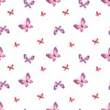 Mod?le sans couture d'enfance avec les papillons mignons photographie stock libre de droits