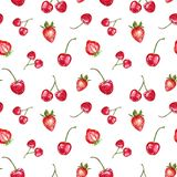 Mod?le sans couture de baies rouges d'aquarelle sur le fond blanc Les fruits frais d'?t? impriment E illustration stock