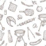 Mod?le sans couture de barbecue Nourriture de BBQ de cru de partie de pique-nique de viande de bifteck frite par légumes de gril  illustration stock