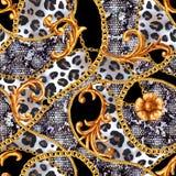 Mod?le sans couture de l?opard ? cha?nes baroque d'or de charme Or tir? par la main de mode d'aquarelle et texture animale illustration de vecteur