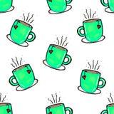 Mod?le sans couture de No?l dessin? ? la main Tasse verte sur un fond blanc Caf?, cacao, cannelle An neuf illustration de vecteur