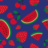 Mod?le sans couture de past?que, de cerise et de fraise Baie rouge Fruits doux Conception de mode Copie de nourriture pour la rob illustration libre de droits