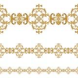Mod?le sans couture de segments ornementaux d'or baroques de style Cadre tiré par la main de frontière d'or illustration libre de droits