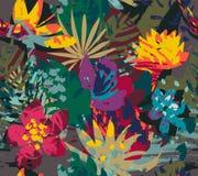 Mod?le sans couture de vecteur avec des plantes tropicales et des fleurs illustration libre de droits