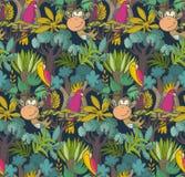 Mod?le sans couture de vecteur avec les animaux de bande dessin?e, les plantes de jungle et les arbres africains illustration stock
