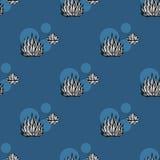 Mod?le sans couture de vecteur de cactus Illustration succulente bleu-foncé tirée par la main de cactus de vecteur Papier peint s illustration de vecteur