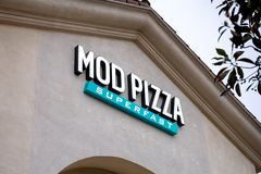 Mod Pizza restaurant sign royalty free stock photos