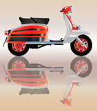 Mod Scooter Reflection. A typical 1960 style motor scooter with reflection over a pale background stock illustration