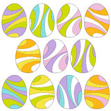 Mod swirl easter eggs Royalty Free Stock Images