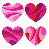 Mod swirl pattern hearts. Clipart Stock Photos