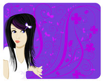 Mod Teen. Illustration of a mod teenager with floral background. Shaped in a tag style royalty free illustration