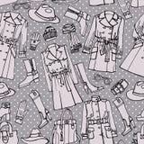 Mod ubrań bezszwowy wzór Kobiety outerwear ilustracji