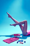 Mod ubrania elegancki set, akcesoria kobieta iść na piechotę Obraz Royalty Free