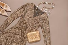 Mod ubrania elegancki set, suknia i akcesoria, Obraz Stock
