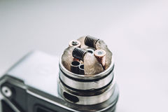 Mod for vaping device and dripping RDA without top cap, coils. Electronic. E - cigarette,  vaporizer, vape, for quit smoke e-liquid Stock Photos